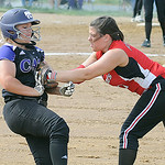 Keystone Destiny Weber is tagged out at third base by Firelands Samantha Dostall in first inning May 22.  Steve manheim
