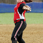 Firelands pitcher Samantha Dostall winds up to pitch against Keystone in the seventh inning at South Amherst Middle School. Firelands High School pitcher senior Samantha Dostall, left, talks …