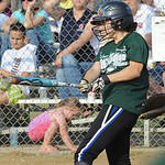Green All-Star Mati Ortero hits an RBI single in third inning of Lorain County All Star softball June 11.  Steve Manheim