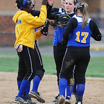 Clearview celebrates a strike out against Firelands. KRISTIN BAUER | CHRONICLE