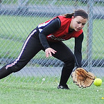 Firelands right fielder Emily Nouosielski fields a ground ball against Clearview. KRISTIN BAUER | CHRONICLE