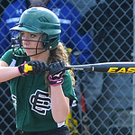 Elyria Catholic's Bridgette Pronesti bats against Midview on April 9 at Midview.