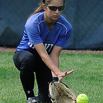 Midview center fielder Morgan Hamker fields a ground ball. KRISTIN BAUER | CHRONICLE