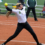 Zoe Beetler pitches for Amherst. STEVE MANHEIM/CHRONICLE