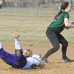 Keystone Destiny Weber slides safe into second base before Westlake Katie Nagel can tag in first inning Apr. 1.  Steve Manheim