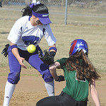 Westlake Erin Brown steals second base as Keystone Summer Constable juggles ball in first inn. Apr. 1.  Steve Manheim