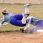 Keystone 18 Destiny Weber and 5 Jen Schaffer collide going after ball in first inning Apr. 2.  Steve Maheim