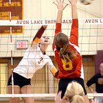 Avon Lake's #3 Lauren Bakaitis spikes the ball past Brecksville's #8 Hannah Anderson.