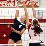 Brookside's #4 Tyller Holley spikes the ball past Firelands' #2 Alex Yoby.