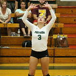 Elyria Catholic's Lauren Evans sets up the ball. CHRISTY LEGEZA/CHRONICLE