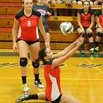 Brookside's Natalee Halkiadakis saves the ball in Game 2 against Elyria Catholic. CHRISTY LEGEZA/CHRONICLE