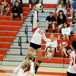Elyria's Tyra Darden hits the ball over the net. KRISTIN BAUER | CHRONICLE