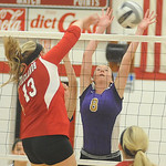 Firelands' Paige O'Connell hits past Vermilion's Rachel Van Curen.  Steve Manheim/Chronicle