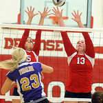Firelands' Paige O'Connell, left, and Mikayla Walbom defend against Vermilion's Kayla Lowe.   Steve Manheim/Chronicle