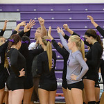 Keystone meets during a time out against Lutheran West. KRISTIN BAUER | CHRONICLE