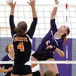 Keystone's #6 Nikki Tuttle spikes the ball past Buckeye's #4 Katie Galaszewski