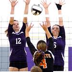 Keystone's #12 Jenna Quillen and #5 Sarah Hasel block Buckeye's #4 Katie Galaszewski's ball.