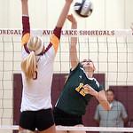 Amherst's Alayna Johnston spikes the ball past Avon Lake's Katie Mihalik. LINDA MURPHY/CHRONICLE