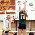 Avon Lake's Katie Mihalik spikes the ball past Amherst's Ashley Makruski.  LINDA MURPHY/CHRONICLE
