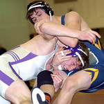 Vermilion's Michael Repko, left, tries to pin North Ridgeville's Colin Riley. LINDA MURPHY/CHRONICLE