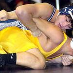 138-pound championship match: Lorain's Eli Garcia works on Copley's Zach Walker. Garcia won the match.