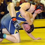 170-pound Kolby Hirschfelder of Midview works on Talon Dorton of North Ridgeville. Hirschfelder won the match.