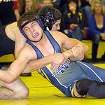 152-pound Nate Asp of North Ridgeville wrestling Midview's Alex Szuch. Asp won the match.