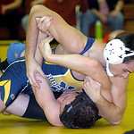 145-pound Ricky Godri of North Ridgeville works on J.P. Morris of Midview. Godri won the match.