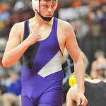 Jacob Worthington of Keystone pumps his fist after a win over Indian Lake's L.J. Henderson in an 182-pound match. DAVID RICHARD