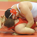Brookside's Ivan Mendoza, top, controls Oberlin's Wesley Gallion on Thursday during a Patriot Athletic Conference quad. STEVE MANHEIM/CHRONICLE