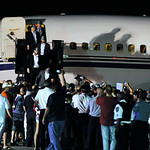 A plane carrying the Stanley Cup winning Chicago Blackhawks is welcomed after arriving at O'Hare International Airport in Chicago, on Tuesday, June 25, 2013. The Blackhawks landed home with  …