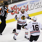 Chicago Blackhawks center Dave Bolland (36) celebrates his game winning goal against the Boston Bruins with Chicago Blackhawks center Marcus Kruger (16) during the third period in Game 6 of  …