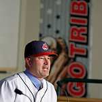 Cleveland Indians manager Manny Acta speaks to the media at a news-conference Monday, Oct. 26, 2009, in Cleveland. Acta, fired as the Washington Nationals manager in July after two and a hal …