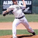 Lorain County Ironmen Joey Stoll throws a pitch against Butler. ANNA NORRIS/CHRONICLE