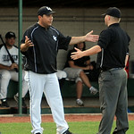Manger Joe Rhomberg argues with the umpires after a ball hit an umpire. STEVE MANHEIM/CHRONICLE