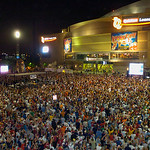** FILE **  In this June 2, 2007, file photo, thousands of sports fans pack the plaza between Jacobs Field and Quicken Loans Arena in downtown Cleveland during Game 6 of the NBA basketball E …
