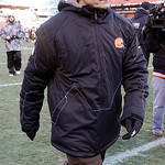 Cleveland Browns head coach Eric Mangini leaves the field after his team was defeated 41-9 in their NFL football game on Sunday, Jan. 2, 2011, in Cleveland.  It was announced by the team Mon …