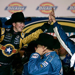 Kurt Busch, left, celebrates with his crew in victory lane after winning the NASCAR Sprint Cup Series auto race at Texas Motor Speedway on Sunday, Nov. 8, 2009, in Fort Worth, Texas. (AP Pho …