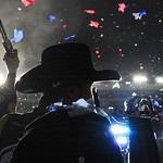 Kurt Busch celebrates after winning the NASCAR Sprint Cup Series auto race at Texas Motor Speedway on Sunday, Nov. 8, 2009, in Fort Worth, Texas. (AP Photo/Michael Thomas)