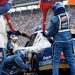 Kurt Busch's car is fueled on his final pit stop in the NASCAR Sprint Cup Series auto race at Texas Motor Speedway, on Sunday, Nov. 8, 2009, in Fort Worth, Texas. Busch won the race. (AP Pho …