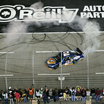 Kurt Busch does a burnout after winning the NASCAR Sprint Cup Series auto race at Texas Motor Speedway on Sunday, Nov. 8, 2009, in Fort Worth, Texas. (AP Photo/Dr. Scott M. Lieberman)