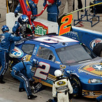 Kurt Busch makes a pit stop during the NASCAR Sprint Cup Series auto race at Texas Motor Speedway on Sunday, Nov. 8, 2009, in Fort Worth, Texas. Busch won the race. (AP Photo/Mike Fuentes)