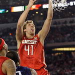 West All-Star Dirk Nowitzki of the Dallas Mavericks goes up for a basket during the second quarter of the NBA All-Star basketball game Sunday, Feb. 14, 2010, at Cowboys Stadium in Arlington, …