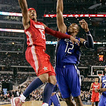 West All-Star Carmelo Anthony of the Denver Nuggets shoots against East All-Star Dwight Howard of the Orlando Magic in the first half of the NBA All-Star basketball game Sunday, Feb. 14, 201 …