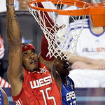 West All-Star Carmelo Anthony of the Denver Nuggets goes up for a dunk against East All-Star Dwight Howard of the Orlando Magic during the first quarter of the NBA All-Star basketball game S …