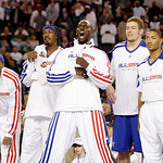 East All-Star Kevin Garnett of the Boston Celtics, center, leads the cheers with Paul Pierce, left, Gerald Wallace, second from left, David Lee and Derrick Rose, right during the fourth quar …