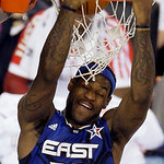East All-Star LeBron James of the Cleveland Cavaliers dunks during the second quarter of the NBA All-Star basketball game Sunday, Feb. 14, 2010, at Cowboys Stadium in Arlington, Texas. (AP P …