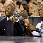 East All Star assistant coach Patrick Ewing, left, and East's Dwight Howard of the Orlando Magic watch from the bench during the second quarter of the NBA All-Star basketball game Sunday, Fe …