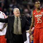 West coach George Karl, left, of the Denver Nuggets, talks to Kevin Durant of the Oklahoma City Thunder during the fourth quarter of the NBA All-Star basketball game Sunday, Feb. 14, 2010, a …