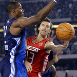 West All-Star Steve Nash of the Phoenix Suns passes the ball against East All-Star Dwight Howard of the Orlando Magic during the first quarter of the NBA All-Star basketball game Sunday, Feb …